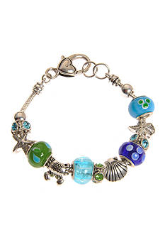 Kim Rogers Silver-Tone Box Sealife Blue and Green Charm Bracelet