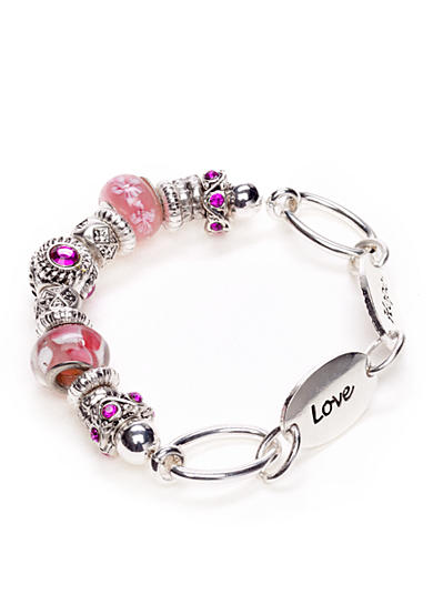 Kim Rogers® Silver-Tone and Pink Glass Charm Boxed Bracelet