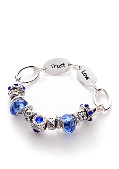 Kim Rogers® Blue Glass and Silver-Tone Inspirational Sayings on a Slide Charm Boxed Bracelet