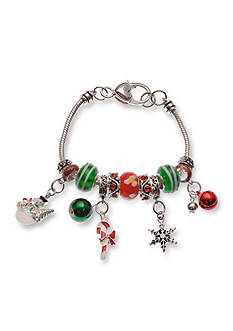 Kim Rogers Silver-Tone Green and Red Glass Candy Cane Star Charm Bracelet