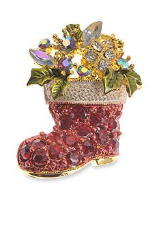 Kim Rogers Gold-Tone Santa Boot Pin