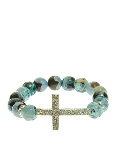 Kim Rogers® Turquoise Genuine Fire Agate Stretch Bead Bracelet