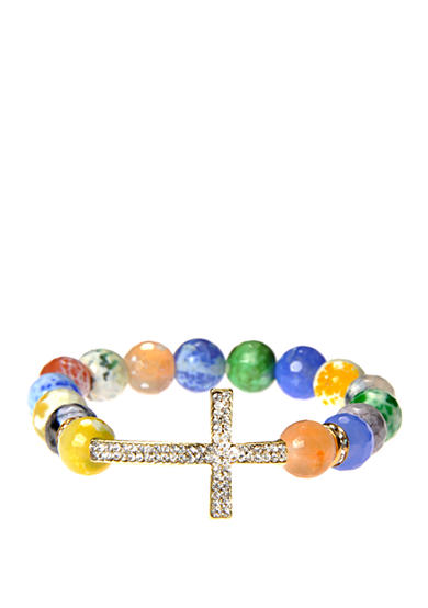 Kim Rogers® Multi Pastel Agate Stretch Bead with Silver-Tone Pave Cross Boxed Bracelet