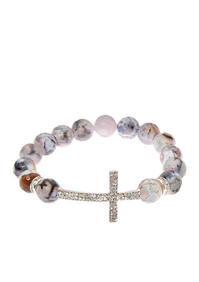 Kim Rogers® Multi Gray Agate Stretch with Pave Cross Boxed Bracelet