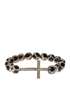 Kim Rogers® Animal Print Jet and White Genuine Stone With a Pave Cross Boxed Bracelet