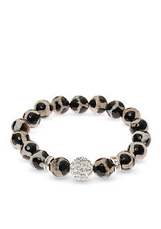 Kim Rogers® Silver-Tone Pave Ball Animal Print Genuine Fire Agate Boxed Bracelet