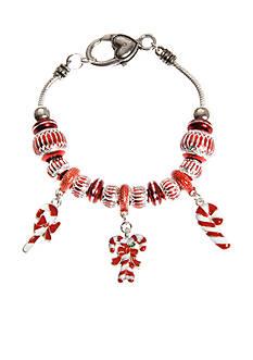Kim Rogers Silver-Tone Candy Cane Charm Bracelet