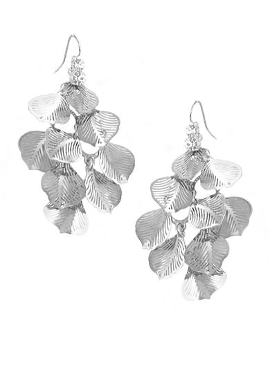 Erica Lyons Silver-Tone Leaf Earrings