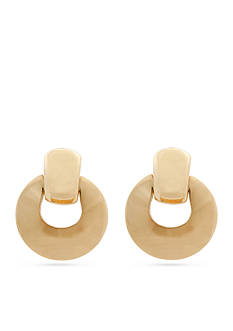 Erica Lyons Gold-Tone Doorknocker Button Clip Earrings