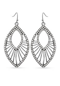 Erica Lyons Hematite-Tone Drama Navette Drop Earrings
