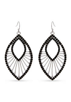 Erica Lyons Silver-Tone Jet Fringe Chandelier Earrings