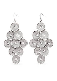 Erica Lyons Silver-Tone Disk Chandelier Earrings