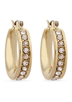 Erica Lyons Gold-Tone Crystal Edge Hoop Earrings