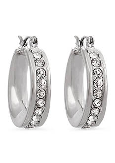 Erica Lyons Silver-Tone Crystal Edge Hoop Earrings