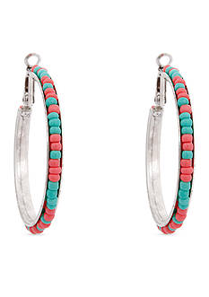 Erica Lyons Silver-Tone South West Spirit Hoop Earrings