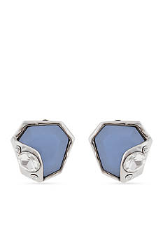 Erica Lyons Silver-Tone Blue My Mind Drop Abstract Stone Clip Earrings
