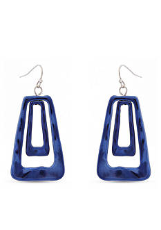 Erica Lyons Silver-Tone Trifecta Blue Trapezoid Earrings