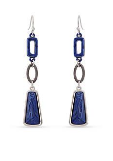Erica Lyons Silver-Tone Trifecta Blue Triple Drop Earrings