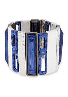 Erica Lyons Silver-Tone Trifecta Blue Wide Stretch Bracelet