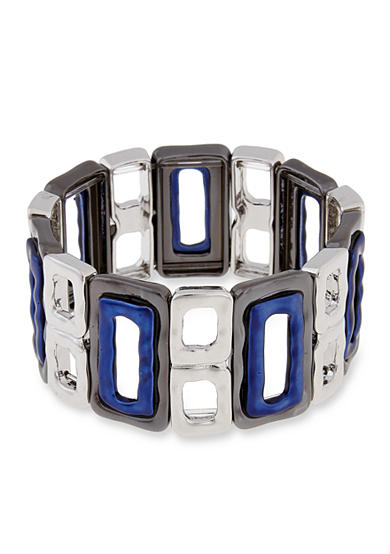 Erica Lyons Silver-Tone Trifecta Blue Open Squares Stretch Bracelet