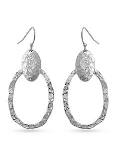 Erica Lyons Silver-Tone Hammered Drop Oval Drop Earrings
