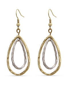 Erica Lyons Mixed Metal Open Teardrop Pierced Earrings