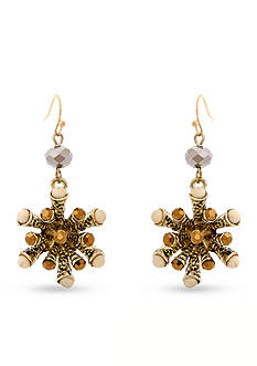 Erica Lyons Over the taupe Drop Starburst Pierced Earrings