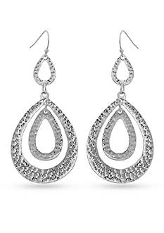 Erica Lyons Silver-Tone Hammereed Double Drop Earrings