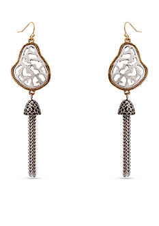 Erica Lyons Silver-Tone Cut It Out Tassel Drop Earrings
