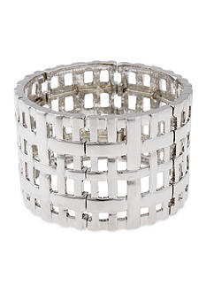 Erica Lyons Silver-Tone A Matter of Abstract Wide Woven Stretch Bracelet