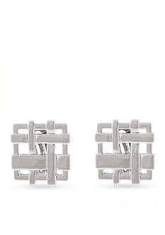 Erica Lyons Silver-Tone A Matter of Abstract Woven Square Button Clip Earrings