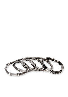Erica Lyons Silver-Tone Antiqued Silver Stretch Bangle Bracelet Set