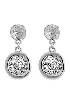 Erica Lyons Silver-Tone Disk Drop Earrings