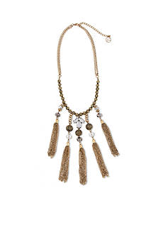 Erica Lyons Gold-Tone Glass Slipper Five Tassel Front Statement Necklace