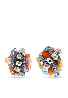 Erica Lyons Silver-Tone Chip Flick Button Cluster Clip Earrings