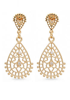 Erica Lyons Gold-Tone Filigree Teardrop Earrings