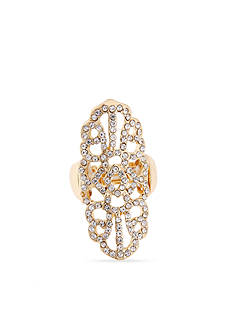 Erica Lyons Gold-Tone Crystal Filigree Stretch Ring