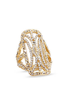 Erica Lyons Gold-Tone Glamorous Open Rectangular Fashion Stretch Ring