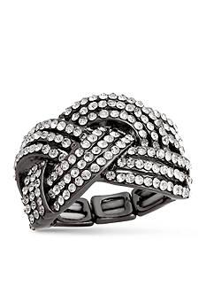 Erica Lyons Hematite-Tone Glamorous Woven Fashion Stretch Ring