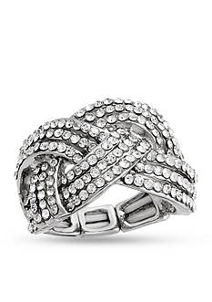 Erica Lyons Silver-Tone Glamorous Woven Fashion Stretch Ring