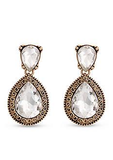 Erica Lyons Gold-Tone Grey Gatsby Teardrop Stone Earrings