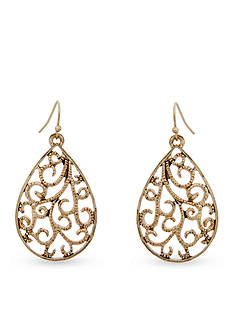 Erica Lyons Gold-Tone Coral Me Bad Drop Filigree Pierced Earrings