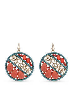 Erica Lyons Gold-Tone Coral Me Bad Drop Fringe Earrings
