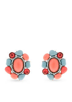 Erica Lyons Gold-Tone Coral Me Bad Clip Button Earrings