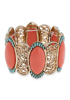 Erica Lyons Gold-Tone Coral Me Bad Wide Stretch Bracelet