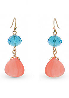 Erica Lyons Gold-Tone Coral Me Bad Double Drop Pierced Earrings