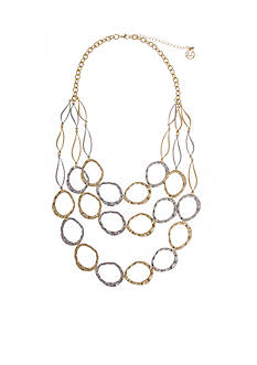 Erica Lyons Two-Tone Triple Row Open Links Necklace