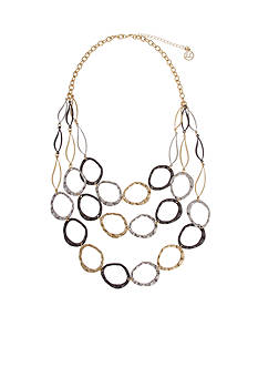 Erica Lyons Tri-Tone Triple Play Statement Necklace