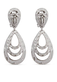 Erica Lyons Silver-Tone Layered Loop Drop Clip Earrings