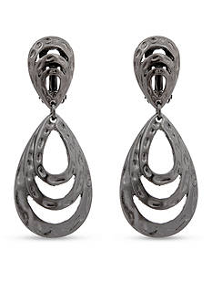 Erica Lyons Hematite-Tone Layered Loop Drop Clip Earrings